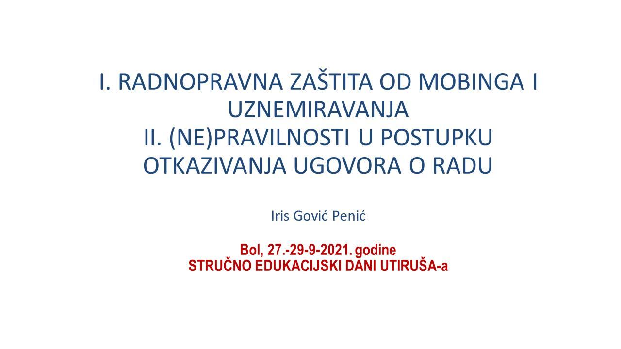 IRIS GOVIĆ PENIĆ  Mobing i nepravilnosti kod okazivanja   Utiruš 9 iz 2021
