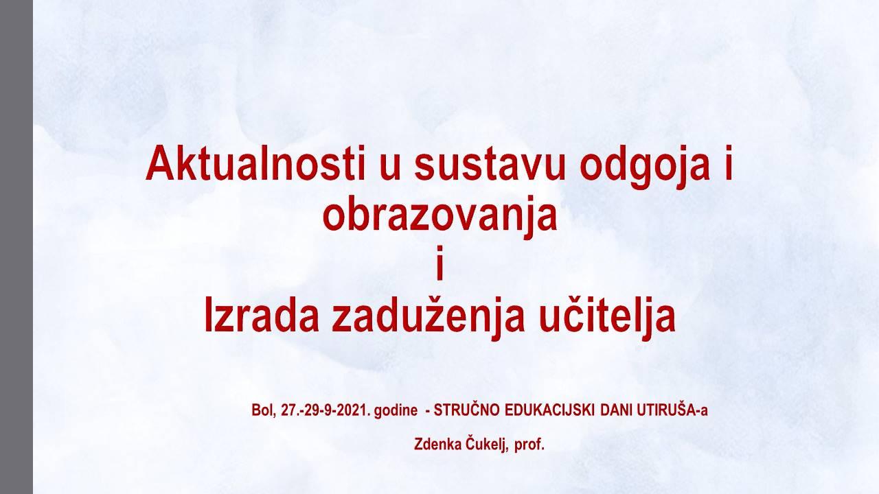 Zdenka Cukelj Brač 2021    STRUČNO EDUKACIJSKI DANI UTIRUŠ a